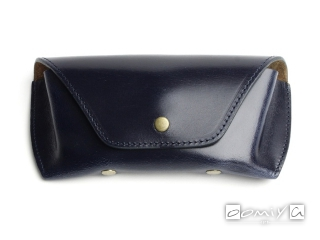 BRIDLE LEATHER EYEWEAR CASE / Navy & Brown(AG1062E)