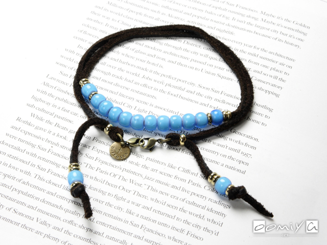 WHITE HEARTS BEADS BRACECODE / Dark brown deer skin /Aqua blue beads (SG1037B)