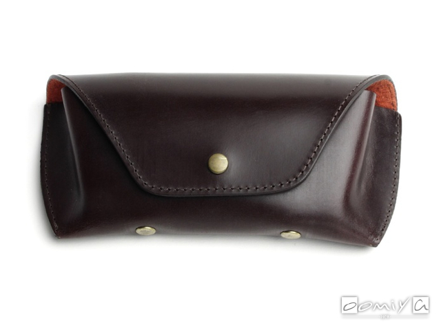BRIDLE LEATHER EYEWEAR CASE / Brown & Dark Red(AG1062C)