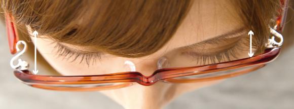 眼鏡と左右の目の距離に差がある。